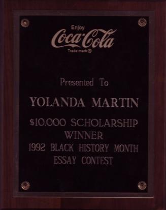 Yolanda Martin Coke Scholarship Plaque