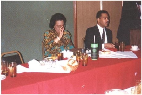 Mrs. Coretta Scott King and Dexter at Atlanta's Paschal's Restaurant