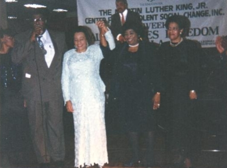 Reverend James Orange, Mrs. Coretta Scott King, Mrs. Betty Shabazz, and Mrs. Myrlie Evers