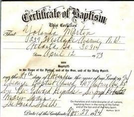 Yolanda Martin Baptismal Certificate