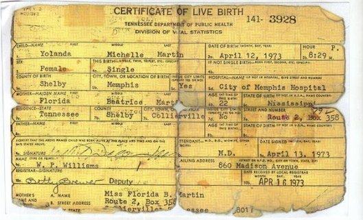 Yolanda Martin Birth Certificate