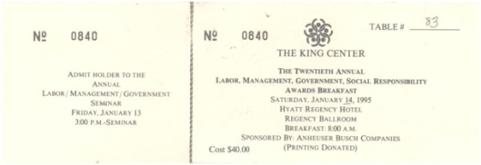 Yolanda Martin Ticket to the King Center's Twentieth Annual Labor, Management, Government, Social Responsibility Awards Breakfast