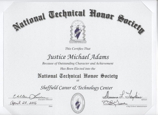 Justice Adams National Technical Honor Society Certificate