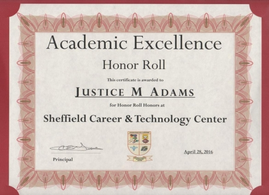 Justice Adams Sheffield Career & Technology Center Academic Honor Roll Certificate