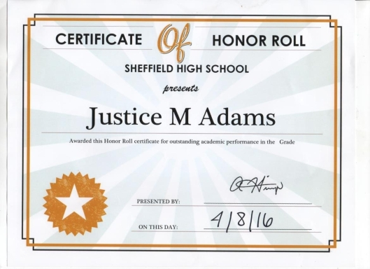 Justice Adams Sheffield High School Certificate of Honor Roll